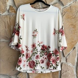 Les Amis Off White Floral Top With Bell Sleeves